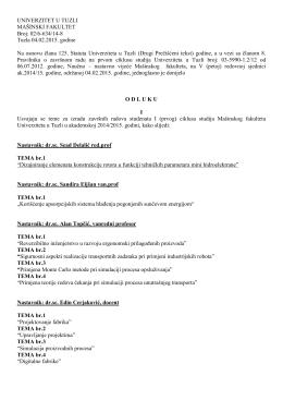 Dodatne teme (diplomski rad) - Mašinski fakultet
