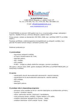 """M-ELEKTRONIK"" d.o.o. 11080 ZEMUN-Beograd, ul. Ljiljane"