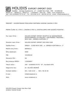 Podaci firme - Metabond