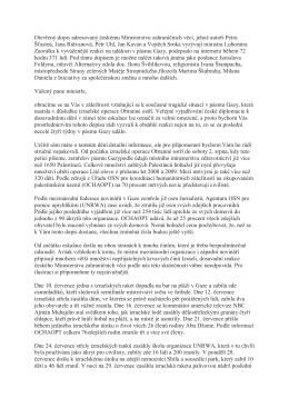 Otevřený dopis adresovaný českému Ministerstvu zahraničních věcí