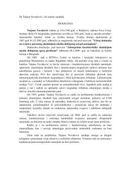 Dr Tatjana Novaković, viši naučni saradnik BIOGRAFIJA
