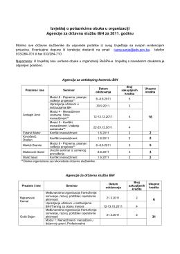 Izvještaj o polaznicima obuka u organizaciji Agencije za državnu