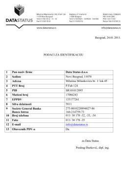 Podaci za identifikaciju Preuzmite: PDF 110 KB