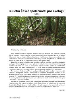 Bulletin České společnosti pro ekologii