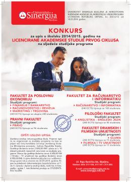 KONKURS - UPIS - Univerzitet Sinergija