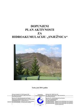 """JP """"Elektroprivreda"""" d.d. Sarajevo, za hidroakumulaciju """"Snjeznica"""""""