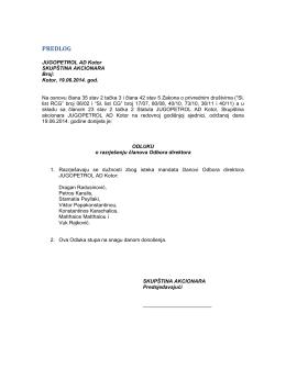 Predlog odluke o razrješenju članova Odbora direktora