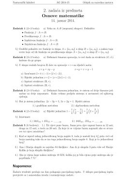 2. zadaća iz predmeta Osnove matematike