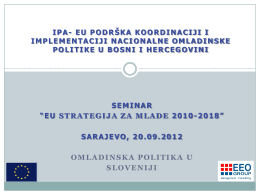 "SEMINAR ""EU STRATEGIJA ZA MLADE 2010-2018"
