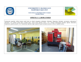 univerzitet u banjoj luci mašinski fakultet oprema u laboratoriji