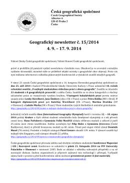 Geografický newsletter č. 15/2014 4. 9. – 17. 9. 2014