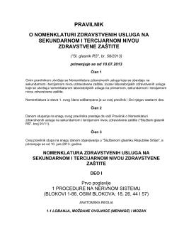 Pravilnik o nomenklaturi zdravstvenih usluga na sekundarnom i