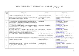 PRIJAVE APSTRAKTA ZA PROCESING 2011 – do 18.02