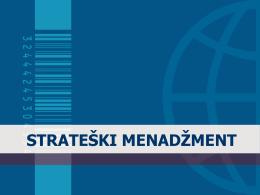 Strateški menadžment – informacije o predmetu