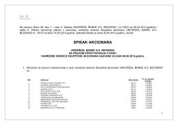 SPISAK AKCIONARA - Univerzal banka
