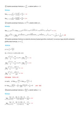 ① Ispitati ponašanje funkcije y = u okolini tačke x