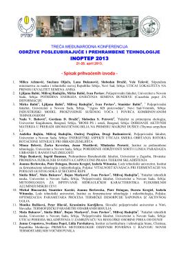 INOPTEP 2013 - Spisak prihvaćenih izvoda -