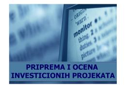 Priprema i ocena investicionih projekata