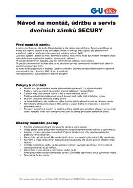 Návod na montáž, údržbu a servis dveřních zámků SECURY