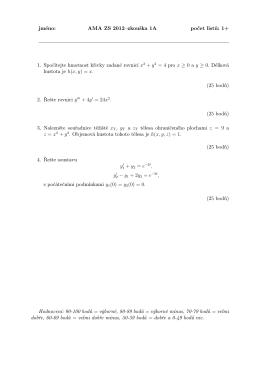jméno: AMA ZS 2012–zkouška 1A počet listů: 1+ 1. Spočítejte