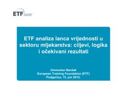 ETF analiza lanca vrijednosti u sektoru mljekarstva: ciljevi, logika i