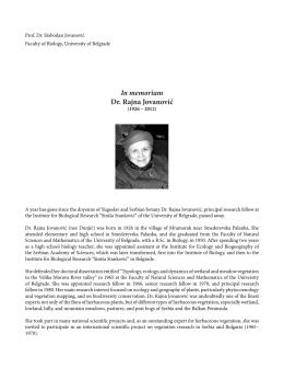 In memoriam Dr. Rajna Jovanović - Botanica Serbica