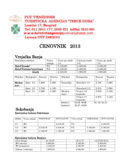 CENOVNIK 2013 - Turisticka agencija Trece doba