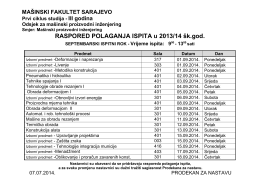 RASPORED POLAGANJA ISPITA u 2013/14 šk.god.