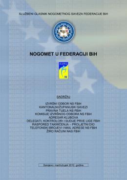 Bilten - adresar Prve lige FBiH mart/ožujak 2012