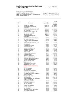 Jedinstvena evidencija akcionara, 17.06.2013