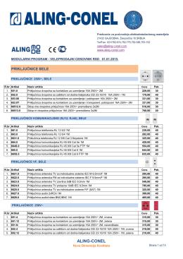 Aling-Conel modularni program, cenovnik