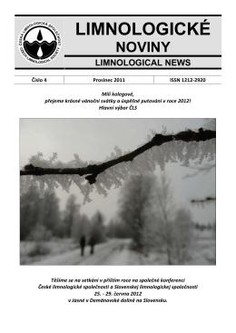 LIMNOLOGICK NOVINY - Česká limnologická společnost