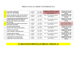Termini predavanja za mesec Novembar 2014. godine
