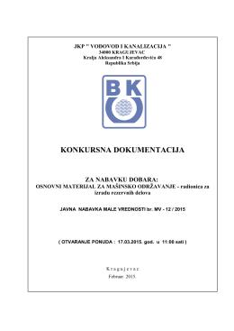 """KONKURSNA DOKUMENTACIJA - JKP """"Vodovod i kanalizacija"""""""