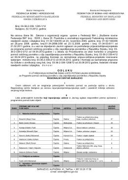 RC Sarajevo - Federalno ministarstvo raseljenih osoba i izbjeglica