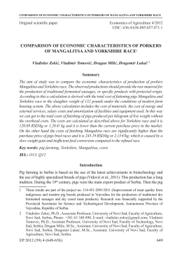 comparison of economic characteristics of porkers of mangalitsa and