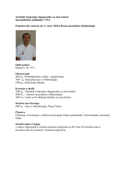 Načelnik Funkcijske dijagnostike za očne bolesti Specijalističke