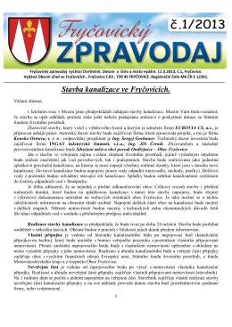 Fryčovický zpravodaj č.1 2013