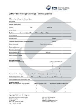 Zahtjev za odobrenje/ izdavanje - kredita/ garancije