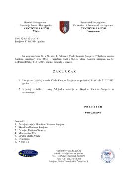 Z A K LJ U Č A K - Skupština Kantona Sarajevo