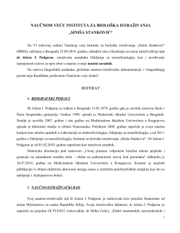 """biografski podaci - Institut za Biološka Istraživanja """"Siniša Stanković"""""""