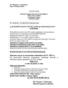 003 CENOVNIK otkupa suncokreta od 25.08.2012.