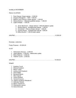 Izveštaj za NOVEMBAR Ĉlanovi ULUPUDS 1. Panić - ULUPUDS-a