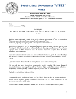 "SVEUČILIŠTE / UNIVERZITET ""VITEZ"" VITEZ"
