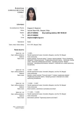 Dragana D. Stoja Vojvode Stepe 40 (381) 011395093 (381
