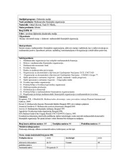 Studijski program : Doktorske studije Naziv predmeta: Međunarodne