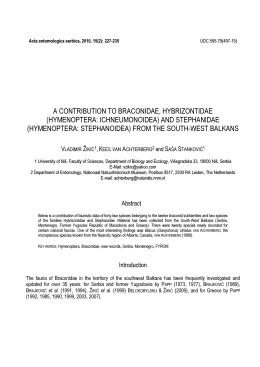 hymenoptera: ichneumonoidea