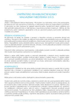Vnitřní řád kliniky - Rehabilitační klinika Malvazinky