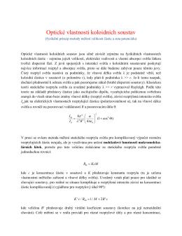 Optické vlastnosti koloidních soustav
