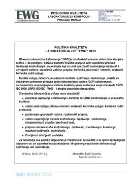 Izjava o politici kvaliteta laboratorija i kontrolnog tela